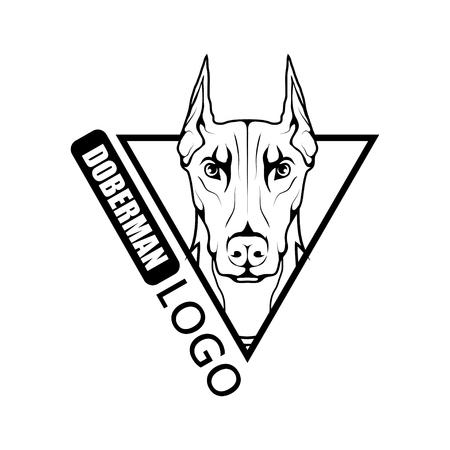 Doberman dog logo. Pet Emblem. Illustration