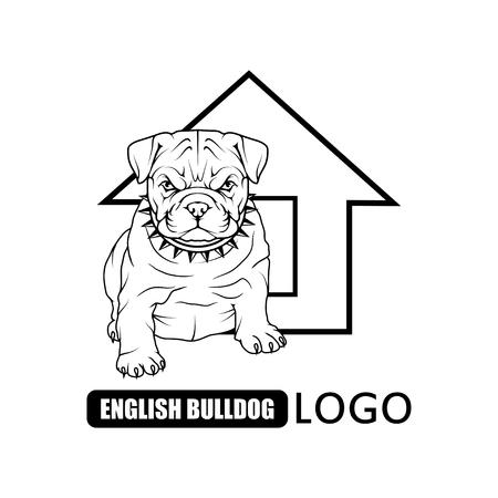 logotipo bulldog inglés aislado en el fondo liso .