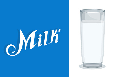Glass of Milk icon . Healthy drink. Lettering.