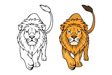 Logotipo del león. León animal del vector. León del rey aislado en el fondo blanco.