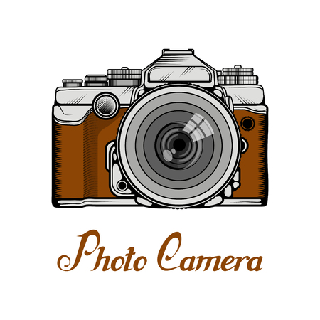 Retro Camera logo. Vintage Photocamera. Photo camera isolated on white background.