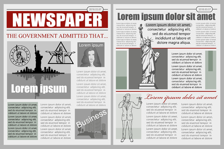 Business Newspaper. Financial Information. Vector newspaper template. Gray newsprint.
