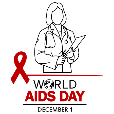 Red ribbon and doctor design for World Aids Day Illustration. Illustration
