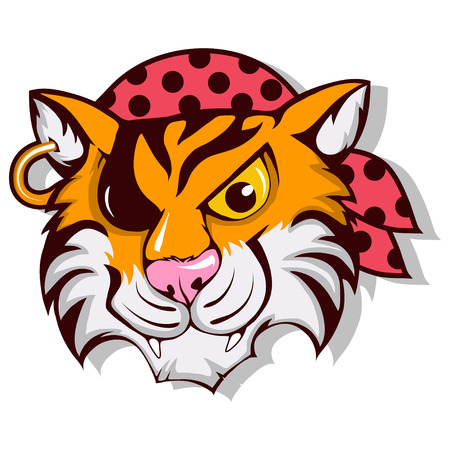 Vector tiger pirate icon with one eye illustration.