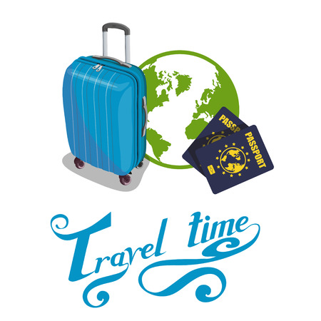 Travel Concept. Trip around the world. Travel bag with travel lettering.World attractions. Ilustração