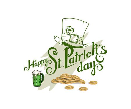 Happy St.Patrick's Day. Saint Patrick's day Lettering. Heavenly patron of Ireland - Saint Patrick. Vettoriali