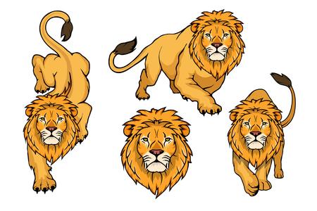 Set of Lion logo.Vector animal lion.King Lion isolated on white background.
