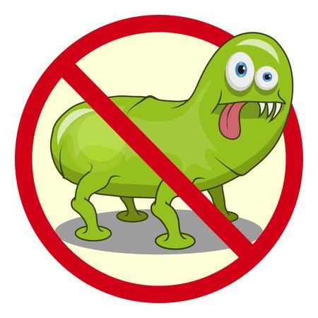 Cartoon virus. Funny micro Virus. Cartoon bacteria character. Vector virus character.