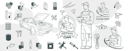 Set of different car repair elements. Auto service logo. Car repair shop. Auto workshop. Car mechanic. Auto master. Vettoriali
