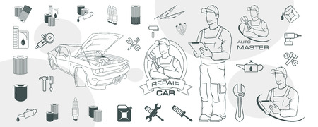 Set of different car repair elements. Auto service logo. Car repair shop. Auto workshop. Car mechanic. Auto master. Ilustração