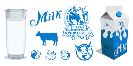 Set of different Milk product. Milk logo. Healthy drink. Lettering. Milk is a nutritious liquid. Ecologically pure natural milk and dairy products. Иллюстрация