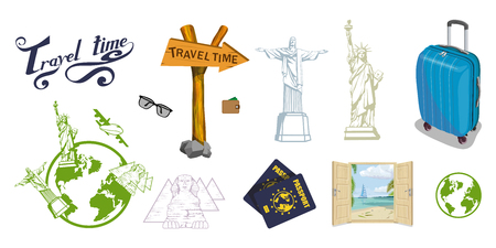 Set of different Travel Concept elements. Trip around the world. Travel bag with travel lettering.World attractions. Banque d'images - 99664408