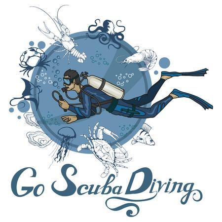 Scuba diving logo. Diver with scuba. Scuba-diving. Vector diver character. Иллюстрация