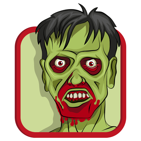 Cartoon Zombie head vector illustration