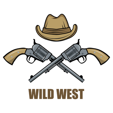Hat and guns cowboy. Cartoon picture of the wild west. Illustration
