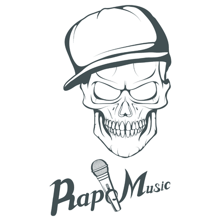 Rap music logo. Rapper skull on white background. Lettering with a microphone. Vector graphics to design Çizim