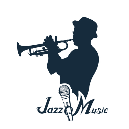 Jazz player with trumpet. Trumpet player. Lettering with a microphone. Vector graphics to design