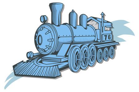 Vecchia icona del treno. Disegno della locomotiva. Trasporto a vapore. Grafica vettoriale da progettare. Vettoriali