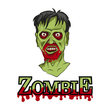 Cartoon Zombie head. Vector graphics to design illustration.
