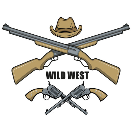 Hat and guns cowboy. Cartoon picture of the wild west. Cowboy Concept. Vector graphics to design Çizim