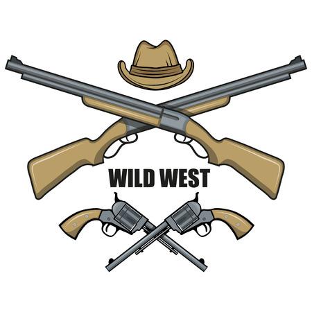 Hat and guns cowboy. Cartoon picture of the wild west. Cowboy Concept. Vector graphics to design Illusztráció