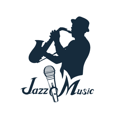 Jazz player with saxophone. Saxophone player. Lettering with a microphone. Silhouette of a musician Vector graphics to design