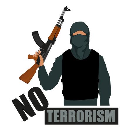Terrorista con arma. Fermare il terrorismo. Concetto di terrorismo. Grafica vettoriale da progettare