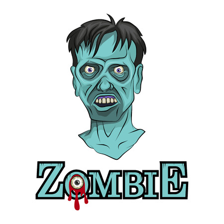 Cartoon Zombie head. Vector graphics to design