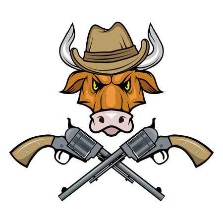 images of a bull in a cowboy hat and guns. Cartoon picture of the wild west. Cowboy Concept. Vector graphics to design