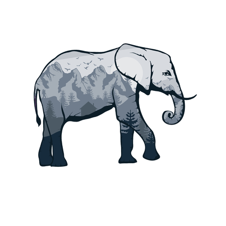 elephant double exposure. Wildlife for your design, outdoors symbol elephant double exposure. Vector graphics to design