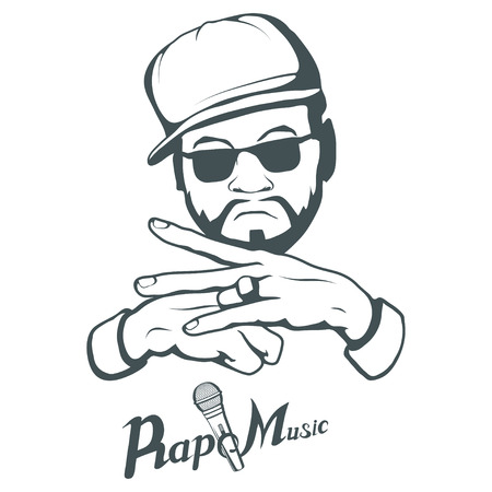 Rap music logo. Rapper skull on white background. Lettering with a microphone. Vector graphics to design.  イラスト・ベクター素材