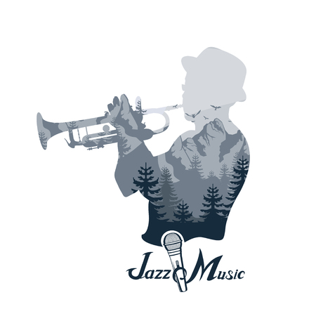 Jazz player with trumpet. Images of the musician double exposure. Trumpet player. Lettering with a microphone. Vector graphics to design.