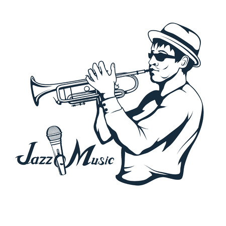 Jazz player with trumpet