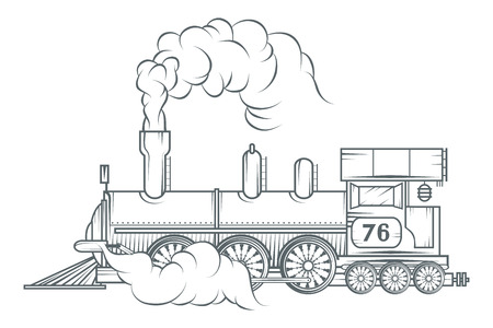 Old train vector graphic design.