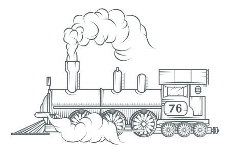 Conception graphique de vecteur de train ancien. Vecteurs
