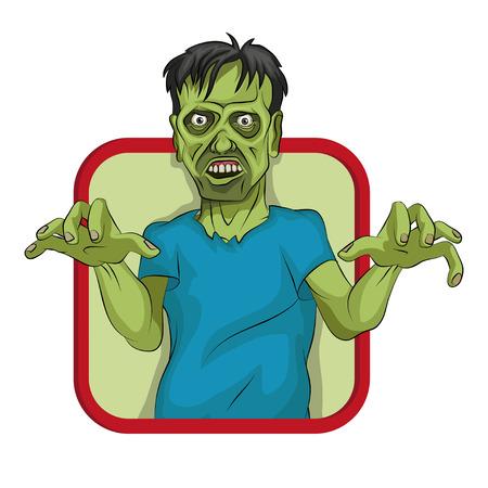 Cartoon zombie vector graphic design.