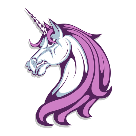 Unicorn. Cartoon unicorn head. Magic animal. Vector graphics to design Illustration