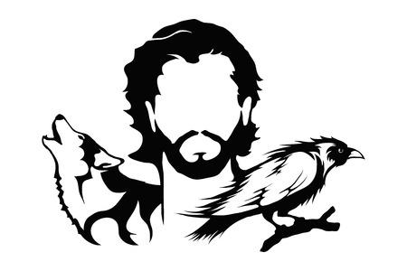 Uomo con un'illustrazione di lupo e corvo Grafica vettoriale per la progettazione