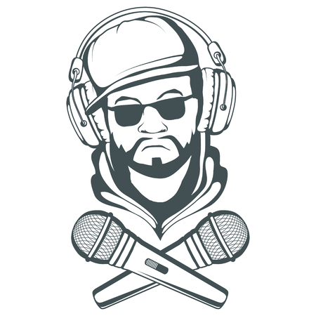 Rap music logo. Rapper skull on white background. Lettering with a microphone. Vector graphics to design  イラスト・ベクター素材