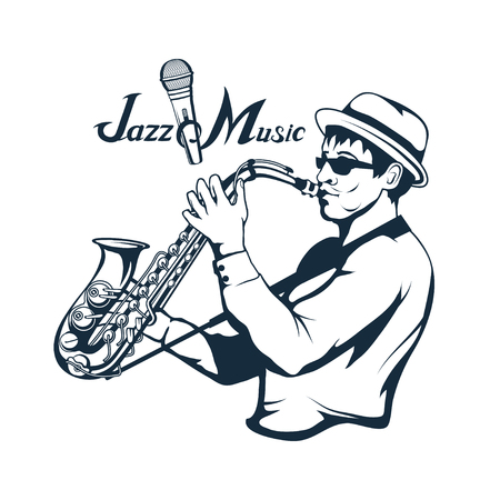 jazz player with saxophone. Saxophone player. Lettering with a microphone. Silhouette of a musician Vector graphics to design Illustration