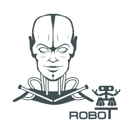 Robotic face. Robot logo for design. Robotics. Vector graphics to design