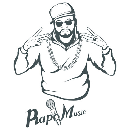Rap music icon. Rapper skull on white background. Lettering with a microphone. Vector graphics to design