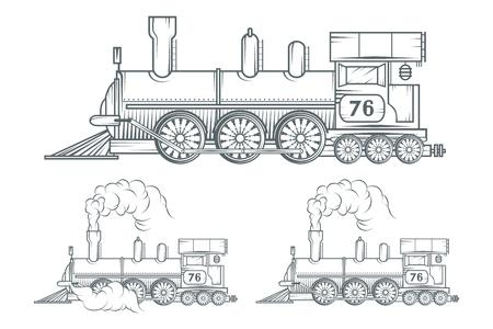 Conjunto de tren antiguo. Dibujo de locomotora. Transporte de vapor. Gráficos vectoriales para diseñar