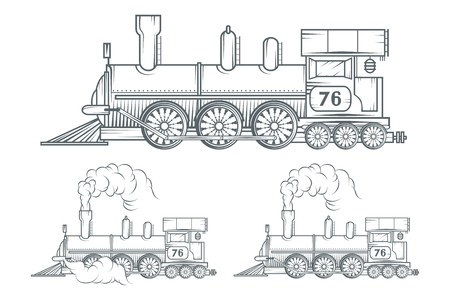 Set of Old train. Locomotive drawing. Steam transport. Vector graphics to design