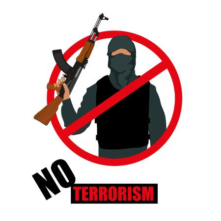 Terrorist with weapon. Stop terrorism. Terrorism concept. Vector graphics to design
