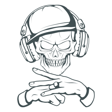 Rapper skull on white background. Lettering with a microphone. Vector graphics to design