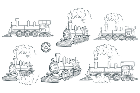 Set of different locomotive. Old train. Locomotive drawing. Steam transport. Vector graphics to design