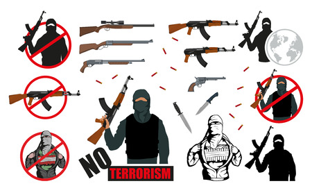 Set of world terror illustration.Weapon set. Stop Terrorism concept. Vector graphics to design