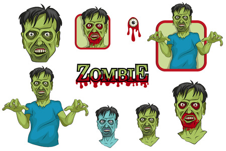 Zombies set. Cartoon Zombie head and hand. Vector graphics to design