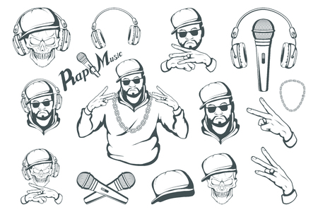 Rap music set. Rapper skull on white background. Lettering with a microphone. Vector graphics to design